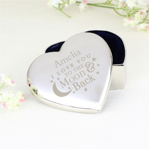 Personalised To the Moon and Back... Heart Trinket